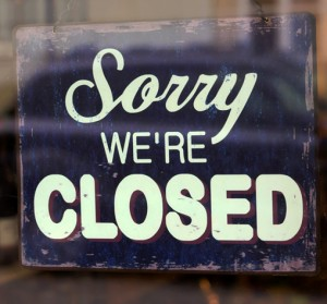 GAP Sorry we're closed sign